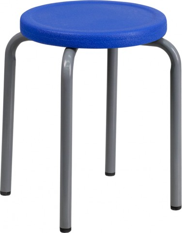 Stackable Blue Stool with Silver Powder Coated Frame