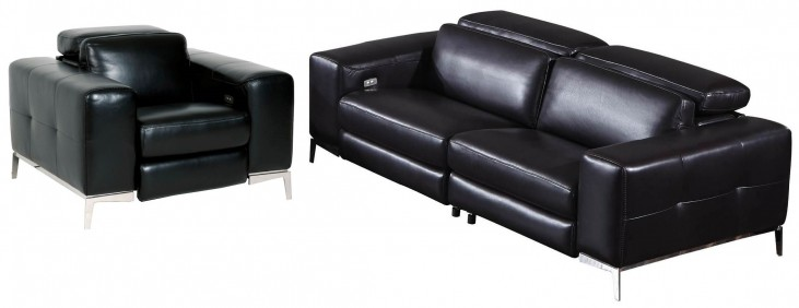 Peninsula Black Leather Strada Living Room Set