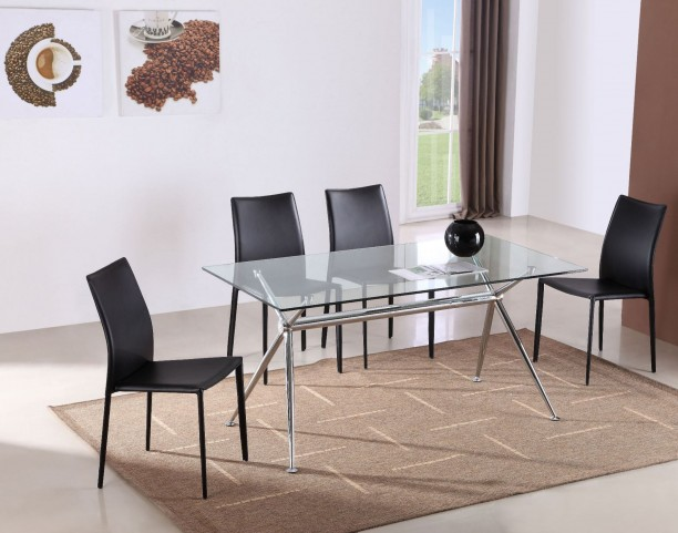 T058 Glass Rectangular Dining Room Set