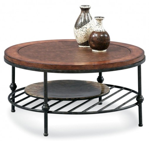 Bentley Tobacco and Pewter Round Cocktail Table
