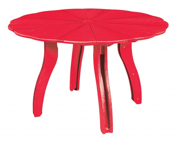 "Generations Red 52"" Scalloped Round Dining Table"