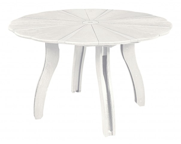 "Generations White 52"" Scalloped Round Dining Table"