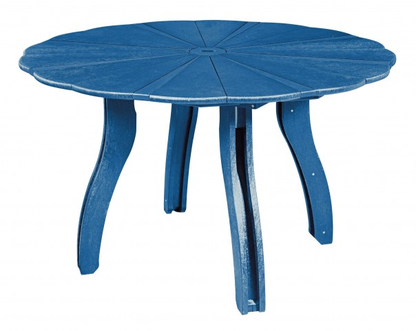 "Generations Blue 52"" Scalloped Round Dining Table"