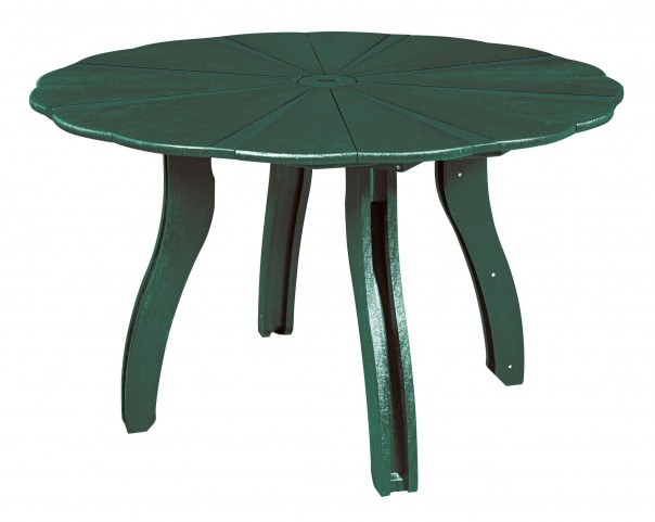 "Generations Green 52"" Scalloped Round Dining Table"