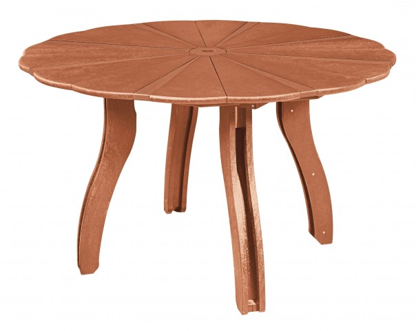 "Generations Cedar 52"" Scalloped Round Dining Table"