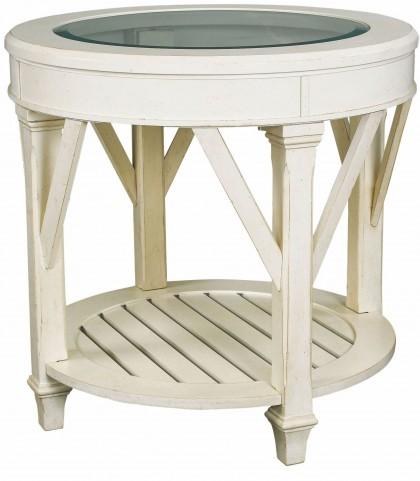 Promenade Antique Linen Round End Table
