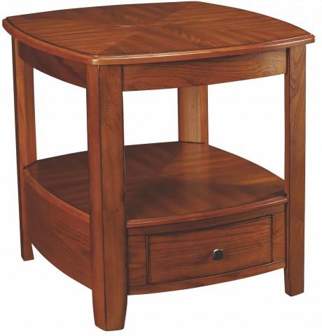 Primo Warm Medium Brown Rectangular Drawer End Table