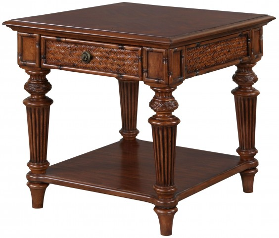 Antilles Warm Cognac Rectangular End Table