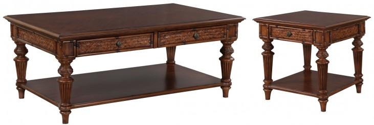 Antilles Warm Cognac Rectangular Occasional Table Set