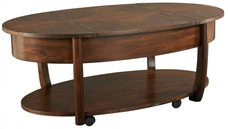 Concierge Medium Brown Oval Lift-Top Cocktail Table