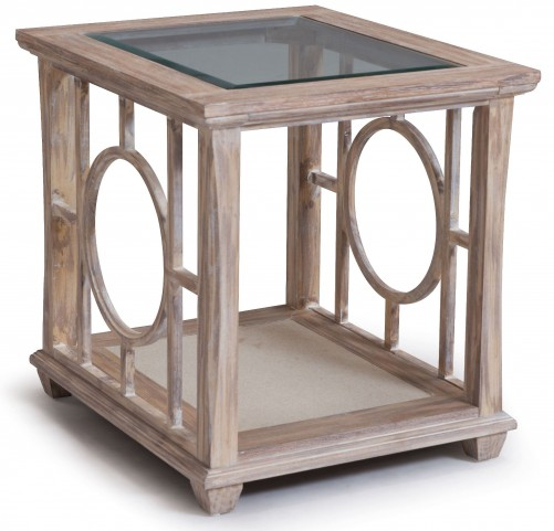 Lana White Wash Wood Rectangular End Table