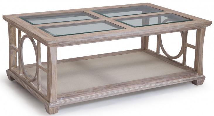 Lana White Wash Wood Rectangular Cocktail Table