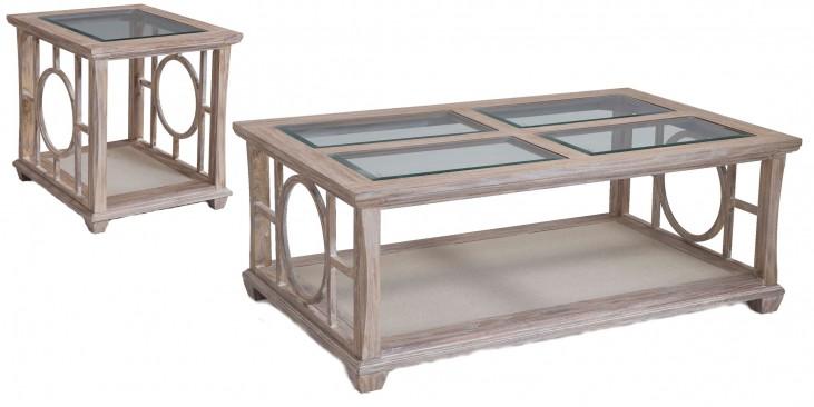 Lana White Wash Wood Rectangular Occasional Table Set