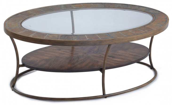 Desoto Warm Sienna Wood Oval Cocktail Table
