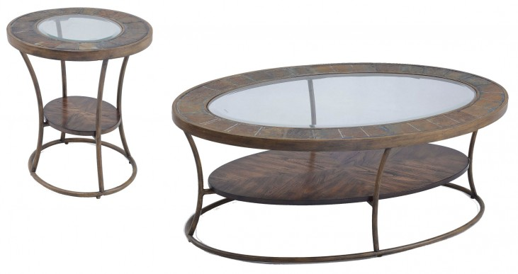 Desoto Warm Sienna Wood Oval Occasional Table Set