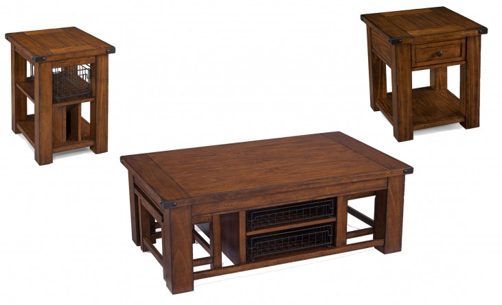 Parker Lane Distressed Natural Pine Rectangular Occasional Table Set