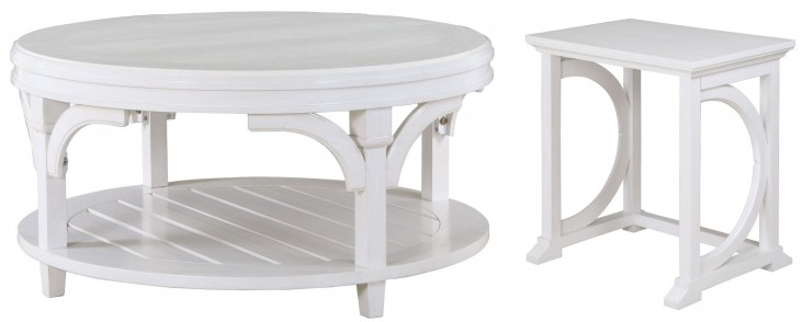 Boathouse White Round Occasional Table Set
