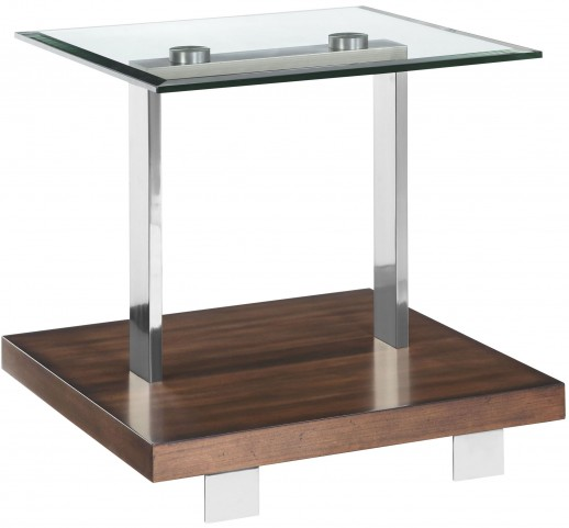 Modern Loft Nutmeg Brush Nickel Rectangular End Table