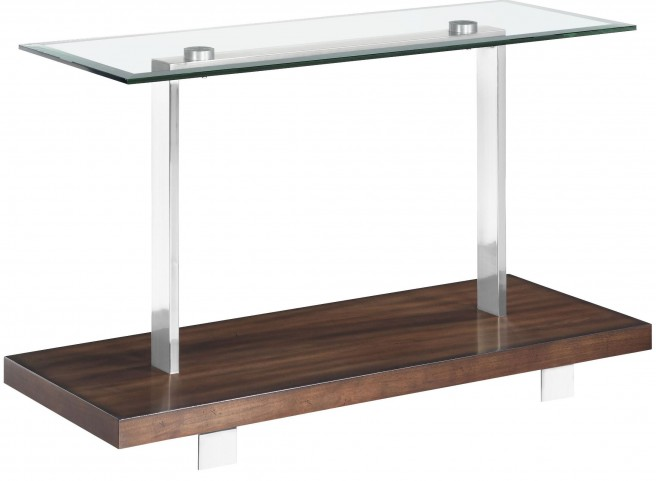 Modern Loft Nutmeg Brush Nickel Rectangular Sofa Table