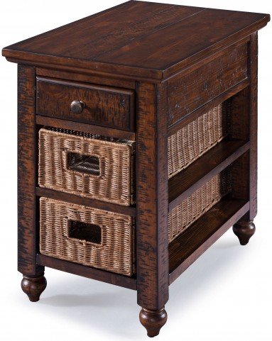 Cottage Lane Coffee Wood Rectangular Chair Side End Table