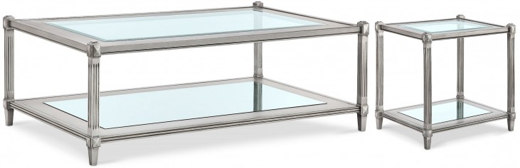 Platinum Metallic Silver Rectangular Occasional Table Set