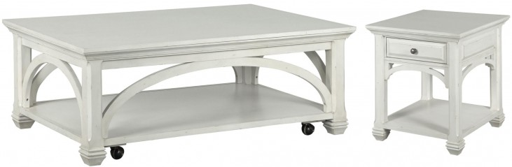 Hancock Park Vintage White Rectangular Occasional Table Set