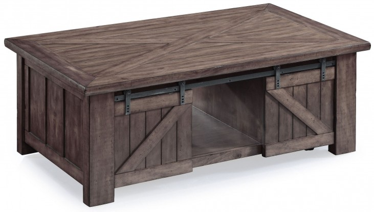 Garrett Weathered Charcoal Wood Rectangular Casters Lift-Top Cocktail Table