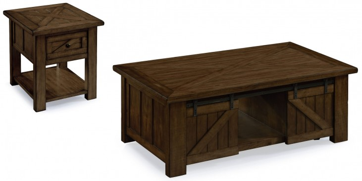 Fraser Rustic Pine Wood Occasional Table Set