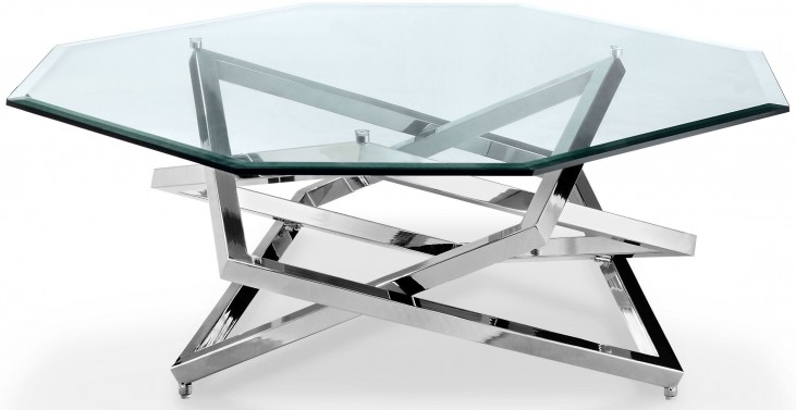 Lenox Square Nickel Octagonal Cocktail Table