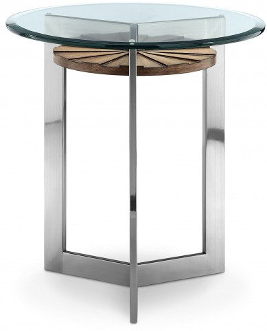 Rialto Toffee And Brushed Nickel Round End Table