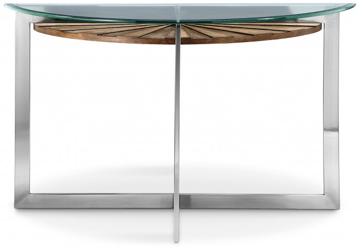 Rialto Toffee And Brushed Nickel Demilune Sofa Table