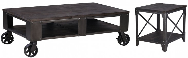 Milford Weathered Charcoal And Gunmetal Rectangular Occasional Table Set