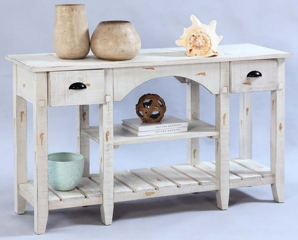Willow Distressed White Console Table
