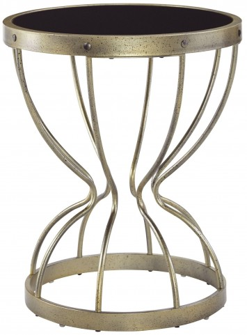 Marxim Black and Gold Round End Table