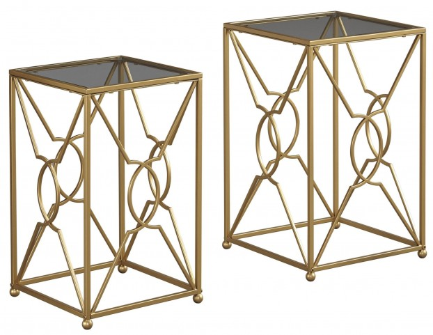 Marxim Gold Nesting End Tables Set Of 2