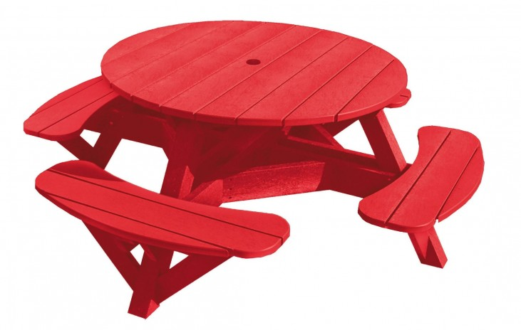 "Generations Red 51"" Round Picnic Table"