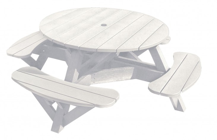 "Generations White 51"" Round Picnic Table"