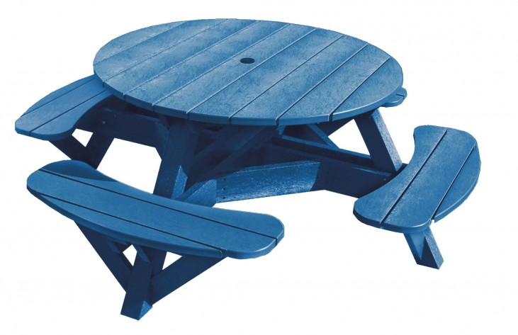 "Generations Blue 51"" Round Picnic Table"