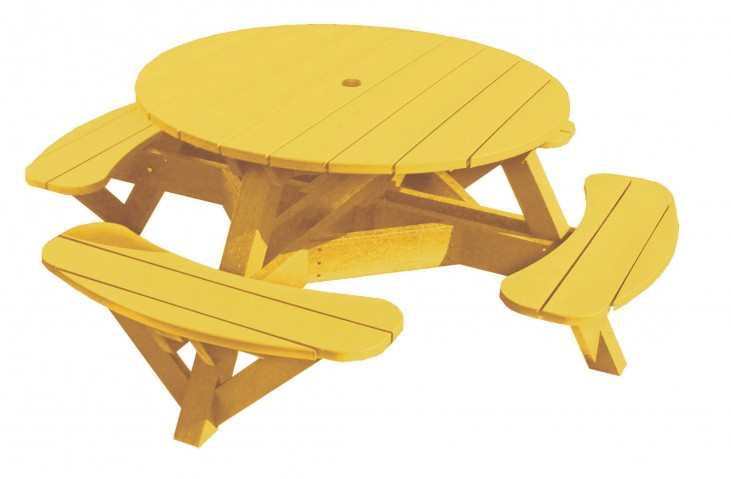 "Generations Yellow 51"" Round Picnic Table"