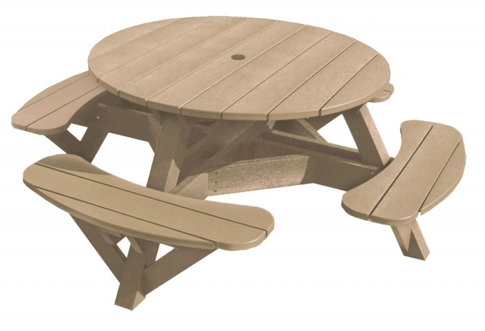 "Generations Beige 51"" Round Picnic Table"