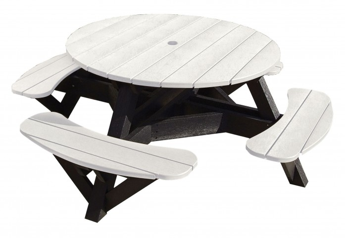 "Generations White 51"" Round Black Frame Picnic Table"