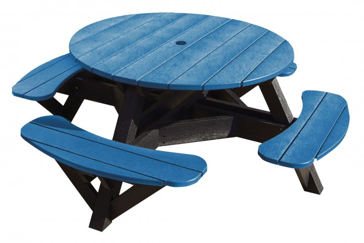 "Generations Blue 51"" Round Black Frame Picnic Table"