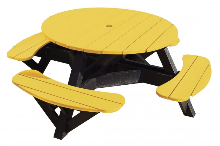 "Generations Yellow 51"" Round Black Frame Picnic Table"