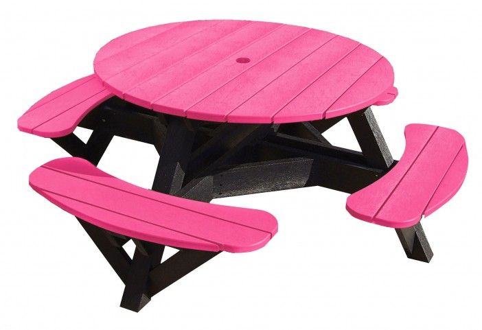 "Generations Fuschia 51"" Round Black Frame Picnic Table"