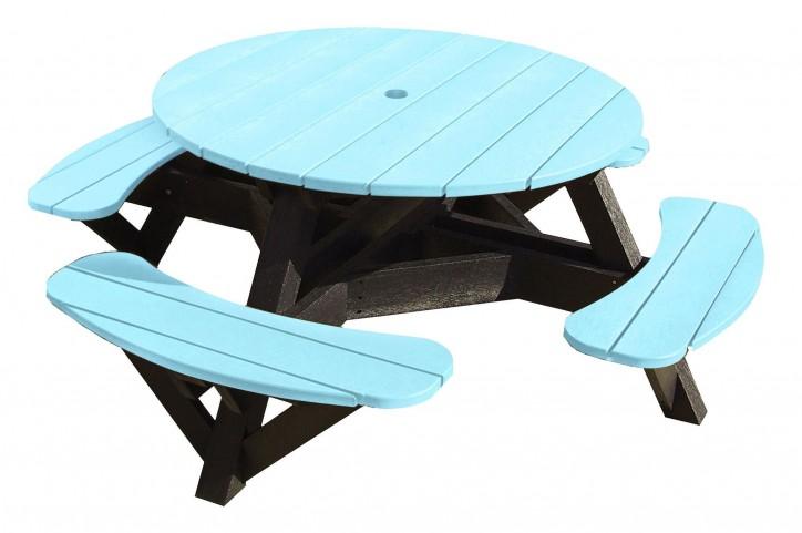 "Generations Aqua 51"" Round Black Frame Picnic Table"