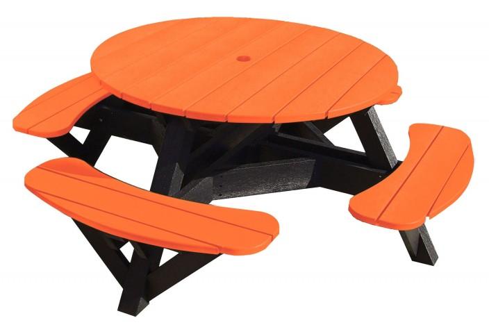 "Generations Orange 51"" Round Black Frame Picnic Table"