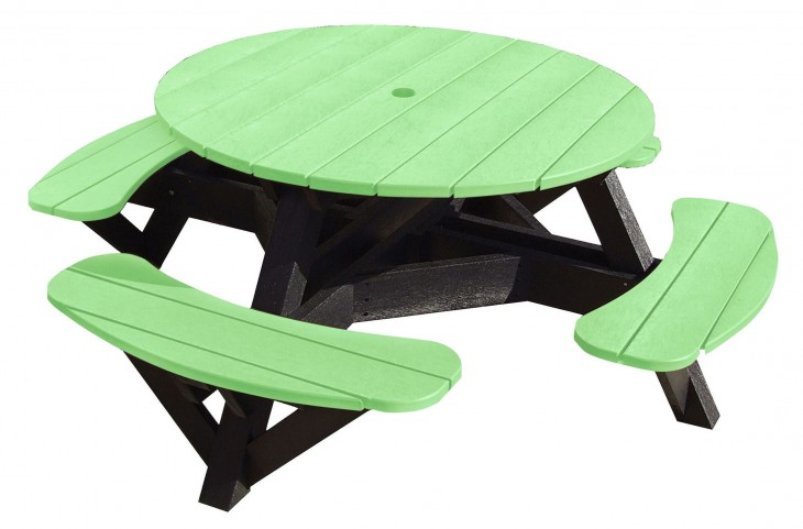 "Generations Lime Green 51"" Round Black Frame Picnic Table"
