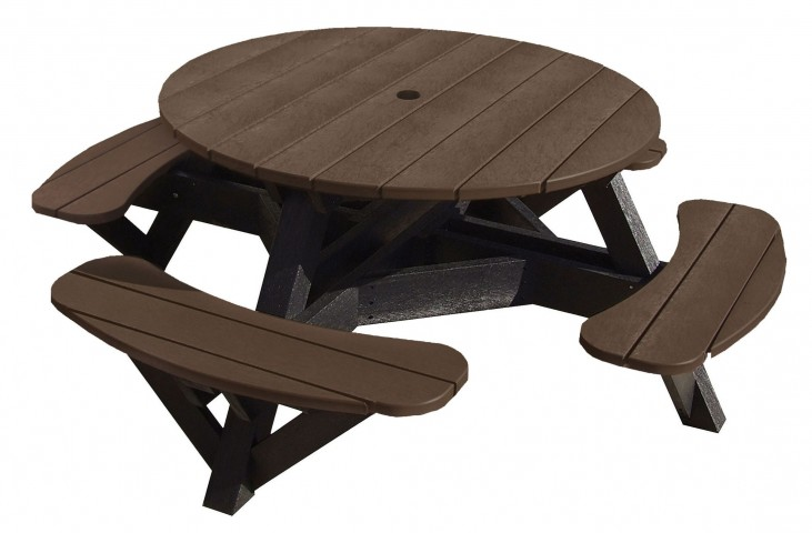 "Generations Chocolate 51"" Round Black Frame Picnic Table"
