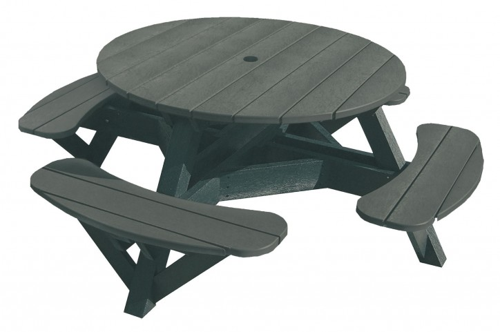 "Generations Slate 51"" Round Black Frame Picnic Table"