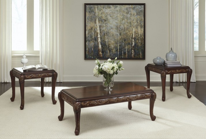 Florrilyn Reddish Brown 3 Piece Occasional Table Set